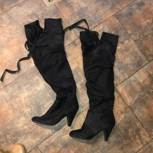 Black OTK (or not) tall suede boot size 7